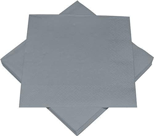 Heku 30241-25: 100 einfarbige Servietten, 3-lagig, 33x33cm, grau