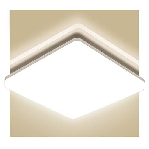 LED Deckenleuchte Bad, 18W 1800LM (150W Glühbirne Ersatz), Oeegoo IP44 Deckenlampe Bürodeckenleuchte, Flimmerfreie Badleuchte für Wohnzimmer Schlafzimmer Balkon Küche Korridor 28 x 28 x 4,8CM 4000K