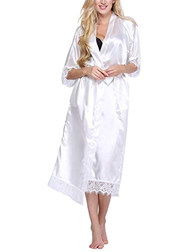 Mujer Bata para Saté,Talla Grande Mujer Seda Túnica De Rayón Lencería Larga Sexy Ropa De Dormir Kimono Yukata Camisón SML XL XXL XXXL Blanco, Blanco, 4XL