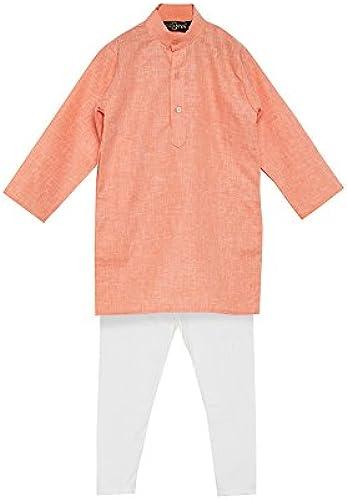 Royal SOJANYA Big Boy's Cotton Linen Kurta Pyjama Set 9 Orange