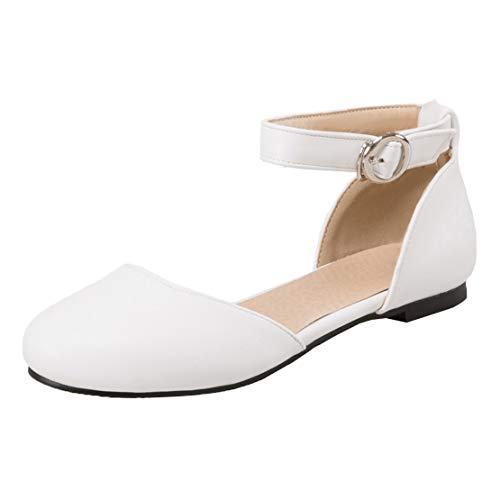 MISSUIT Damen Runde Zehen Ankle Strap Pumps mit Riemchen Flach Ballerina Geschlossen Schuhe(Weiß,34)