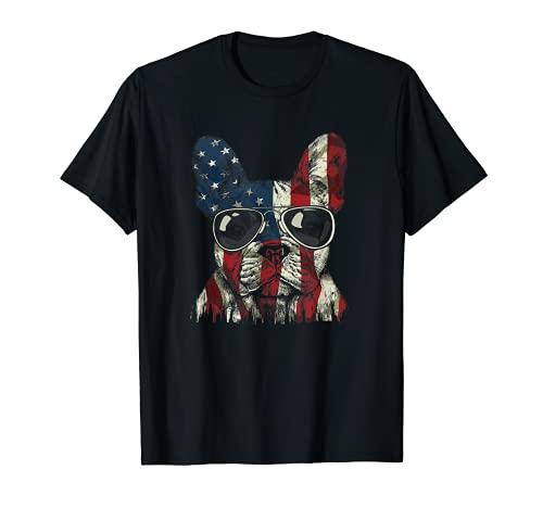 French Bulldog American USA Flag 4th of July Frenchie T-Shirt