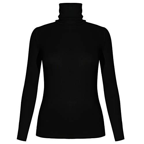 STARBILD Damen Rollkragenpullover Langarmshirt Rollkragen Slim Fit Oberteile Rolli - Rollkragenshirt - Turtleneck T Shirt,Schwarz S