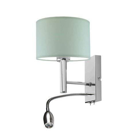Lámpara de pared Floryda con lámpara de lectura LED, pantalla de menta, marco cromado