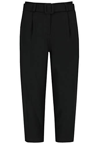 Sublevel Damen Bundfalten Business-Hose mit Gürtel Cropped Black M