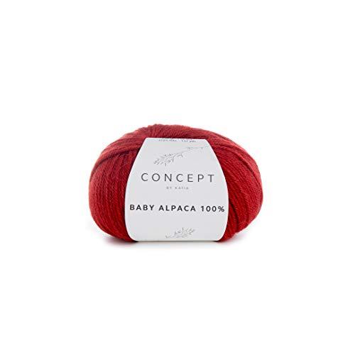 Katia Concept Baby Alpaca 100%, Fb. 513 - rot, 50g Alpakawolle zum Stricken und Häkeln