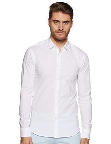 Scotch & Soda Herren Freizeithemd Elastane Shirt Slim Fit Classic Collar, Weiß (White 00), Medium (Herstellergröße: M)