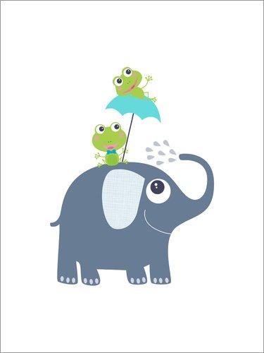 Posterlounge Acrylglasbild 70 x 90 cm: Frösche auf Elefant von Jaysanstudio - Wandbild, Acryl Glasbild, Druck auf Acryl Glas Bild