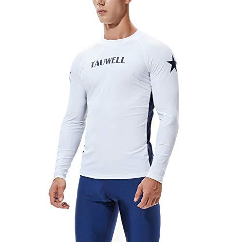 QIMANZI Neoprenanzug Herren Langarm Gerätetauchen Rash Guard UV Sun Schutz Skins Surfen Tauchen Schwimmen-T-Shirt(B Weiß,L)