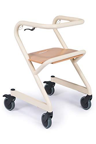 Innenraum Rollator für zu Hause mit leichtläufigen Rädern, integrierter Sitz zum Trippeln, elfenbeinweiß (M)