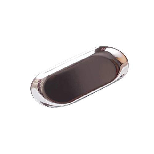 Rekkles Metallaufbewahrungsfach Handtuch Platte Oval Teller Teller Edelstahl-Schmuck Tablett Kleine Gegenstände Dessert Teller Teller Dekorative Artikel