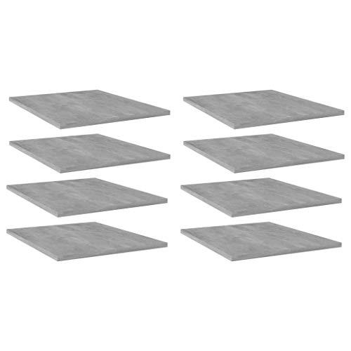 FAMIROSA Estantes estantería 4 uds aglomerado Gris hormigón 40x50x1,5 cm