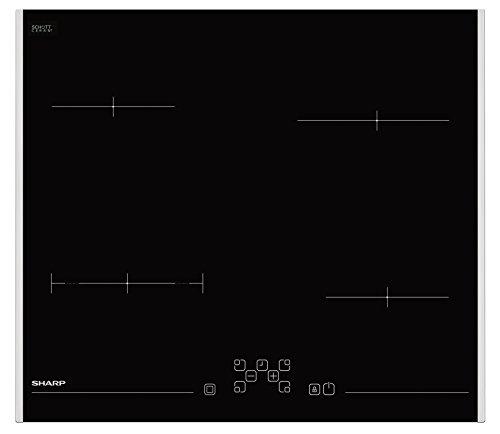 Sharp KH-6V08FT00-EU Schott-Ceran-Glaskeramik-Kochfeld / 60 cm / 4 Kochzonen mit Zweikreiskochzone / Timer / TouchControl / Restwärmeanzeige / seitlicher Edelstalrahmen