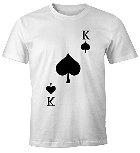 MoonWorks® Herren T-Shirt Kartenspiel Kostüm Spielkarten Gruppenkostüm Karten Fasching Karneval Faschingsshirt Pik König weiß L