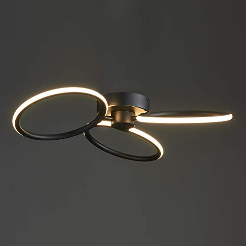 Saint Mossi moderne led-kroonluchter LED-hanglamp voor woonkamer, slaapkamer, eetkamer, vermogen 40 W, 2200 lm, 3000 K, CRI 85, lengte 60 cm, zwart gelakt