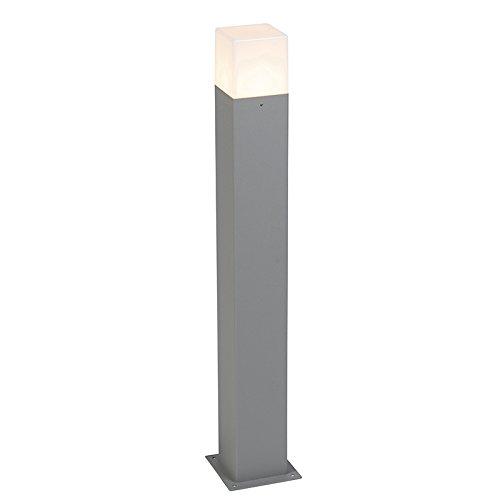 QAZQA Moderno Baliza moderna 70cm gris IP44 - DENMARK Aluminio/Plástico Cubo/Cuadrada/Rectangular/Alargada Adecuado...