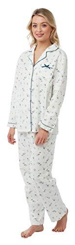 Marlon Damen Pyjama aus 100% gebürsteter Baumwolle mit Knopfleiste vorne Gr. 52-54, blau