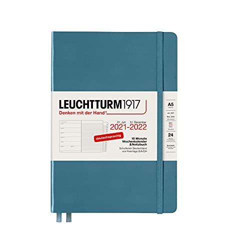LEUCHTTURM1917 363651 Wochenkalender und Notizbuch 2022 Hardcover Medium (A5), 18 Monate, Stone Blue, Deutsch