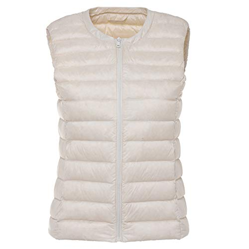 Autumn Women White Duck Down Vest Ultra Light Jacket Winter Round Collar Peter Pan Slim Sleeveless Coat White XXXL