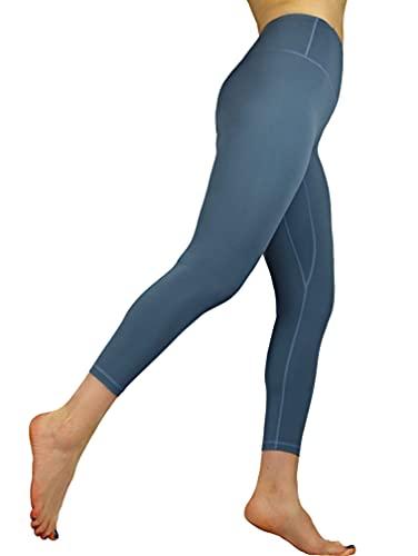 dualseele Eco Yoga Leggings Second Skin Extra Alta Cintura 75% Nylon 25% Spandex 4-Wege-Stretch transpirable transpiración rápido secado para Yoga Fitness Tiempo Deportes Running Pilates azul índigo S