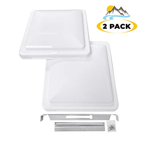 Camp'N 14' Universal RV, Trailer, Camper, Motorhome Roof Vent Cover - Vent Lid Replacement (White 2 Pack)