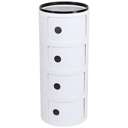 lyrlody 4 Schichten Container Componibili Beistelltisch Nachtkommode Rollcontainer Nachttisch mit Slippng Tür, Weiß Runder Nachtschrank für Schlafzimmer, Küche, Bad und Wohnzimmer