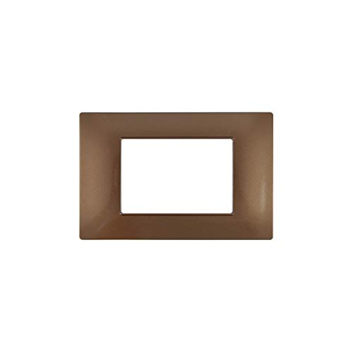 LineteckLED -6003-14- Serie Completa di Placche per Interruttori Prese- Placca 3 Posti 3M Compatibile Vimar - Serie Plana (Chocolate)