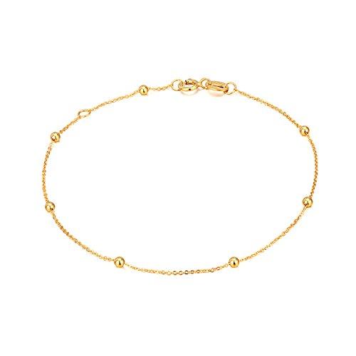 14K Gold Small Bracelets for Women, Dainty Tiny Ball Thin Chain Bracelets Jewelry (Yellow Gold, 14k)