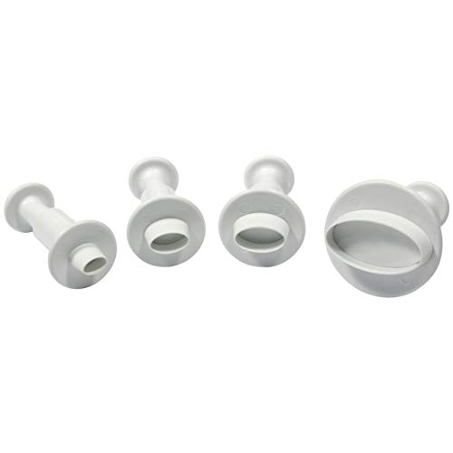 PME MO154 Ovale Prägeausstecher, kleines, mittleres, extra-großes Format, Kunststoff, Weiß, 9 x 2 x 9 cm