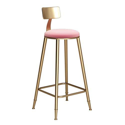 CNRRT Sillas de heces, Simple taburetes de la Barra de Metal Circulares Europeos, taburetes Cocina con Respaldo, paño de cojín de Asiento (1- PCS) (Color : Pink, Size : 73cm)