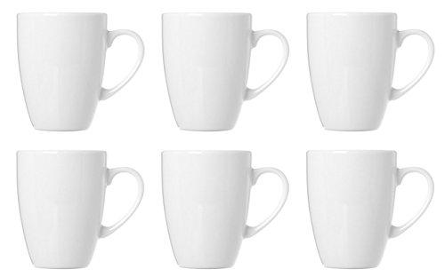 Kaffeebecher Kaffeetassen Espressotassen Porzellan Weiß 6 Stück Set Modellauswahl, Modell:320 ml Kaffeebecher