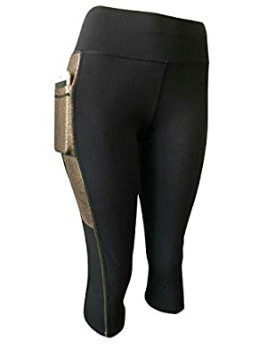 NY GOLDEN FASHION Women Compression Yoga Pants Stretch Workout Fitness Active Capri Leggings with 2 Pockets