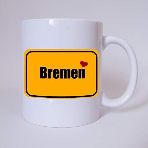 Bremen - I love Bremen - Ortsschild - Meine Heimat Bremen - Meine Stadt Bremen - Ich liebe Bremen - Tasse - Kaffeetasse - Kaffeebecher - Kaffeepot