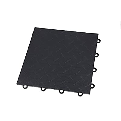"IncStores Diamond Nitro Garage Tiles 12""x12"" Interlocking Garage Flooring (Black - 52-12""x12"" Tiles)"