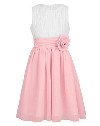 iEFiEL Sweet Prinzessin Lace Blumenmädchenkleider für Hochzeits Brautjungfern Festzug Partei Festliches Kleid Gr. 92-164 (104, Y Rosa & Weiß)