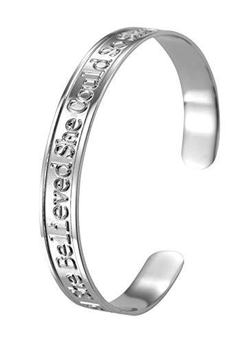 LIKGRAN Pulsera de acero inoxidable con mensaje grabado personalizable para mujer