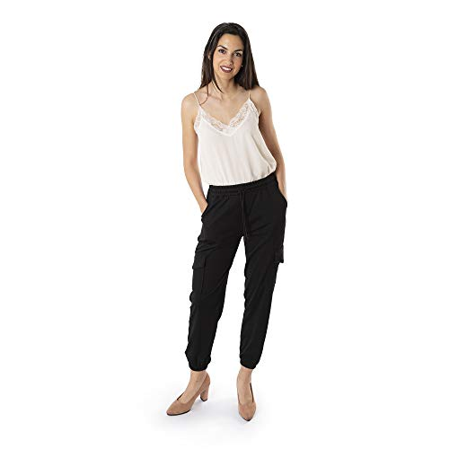 Trendcool. Pantalones Mujer. Pantalones Anchos Mujer. Pantalones Elegantes Mujer. Pantalon Mujer Jogger Negro (M21, M)