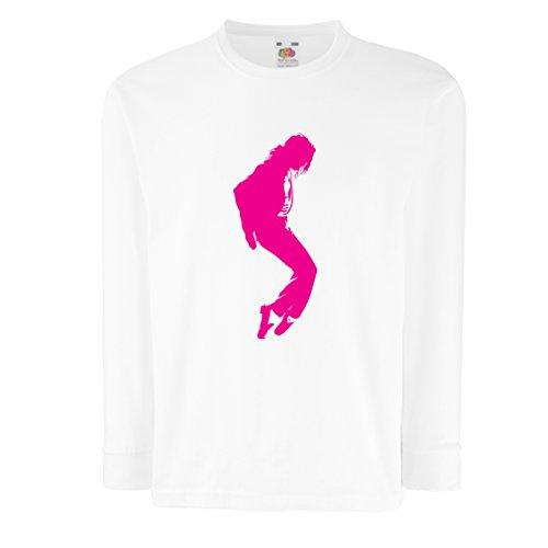 lepni.me Camiseta para Niños Me Encanta MJ El Rey del Pop Fanático De La Música y De Baile Art de Los Años 80 y 90 (7-8 Years Blanco Magenta)
