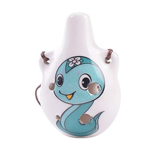 EXCEART Chinesische Flöte Xun Cartoon Schlange Maskottchen Keramik Muster Okarina Alten Windinstrument Desktop Ornamente für Kinder Kinder Anfänger Geschenk