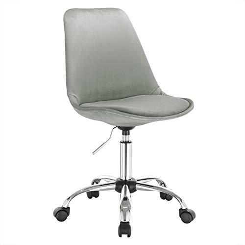 WOLTU 1x Arbeitshocker Schreibtischstuhl Rollhocker Bürohocker Drehhocker, stufenlos höhenverstellbar, Samt, Hellgrau, BS60hgr