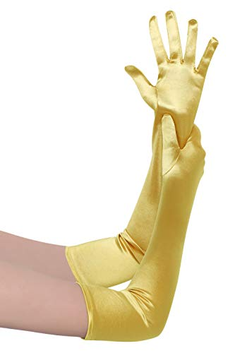 BABEYOND Damen Handschuhe Satin Classic Opera Fest Party Audrey Hepburn Handschuhe 1920er Stil Handschuhe Elastisch Erwachsene Größe Ellenbogen bis Handgelenk Länge 52/55cm (Lang Glatt 52cm / Gelb)