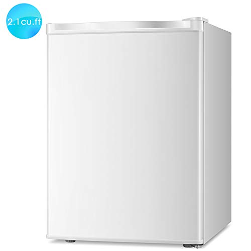Bossin Energy Star 2.1 Cu.Ft Compact Mini Freezer Standing Upright Freezer Food Storage Machine with Adjustable Thermostat for Basement/Home/Apartment/Office, Single Door Mini Fridge(White)