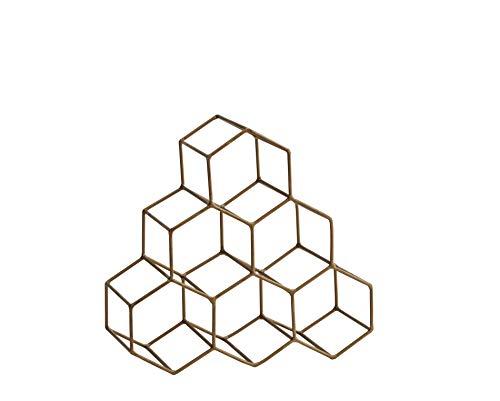 Madam Stoltz Casier à vin en acier inoxydable brossé pour 6 bouteilles de vin de 30 x 28 cm – Pour le rangement, le support ou le porte-bouteilles – Métal laiton et design géométrique