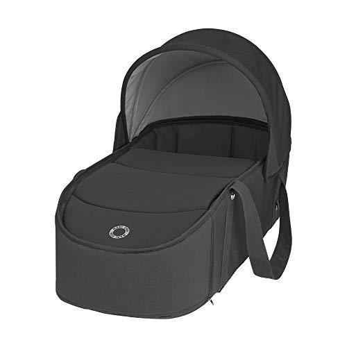 Maxi-Cosi Laika Capazo blando ligero y plebagle compacto, alcochado para el comfort del bebé, compatible con el cochecito Laika 2, color essential black