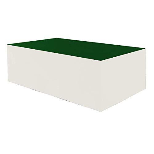 Planesium Premium - Funda protectora para mesa de jardín (575 g/metro lineal, 260 x 130 x 75 cm), color verde y blanco