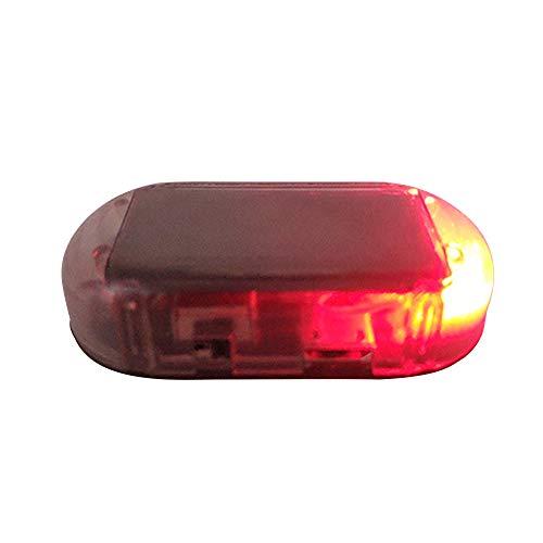 Ebilun, allarme per auto a LED, luce solare di sicurezza, sistema antifurto lampeggiante, colore: rosso