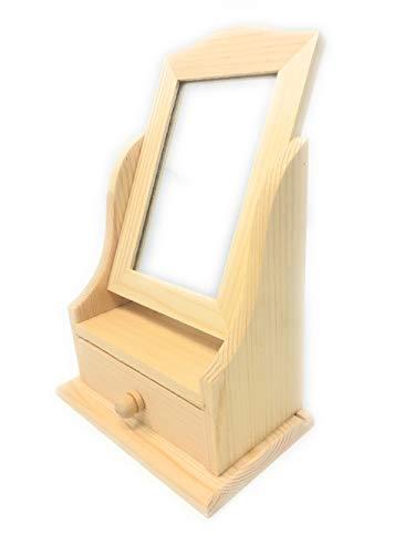 Vetrineinrete Scatola portagioie con Specchio Girevole Mini cassettiera per decoupage portagioielli con cassetto Organizer Cofanetto in Legno P75