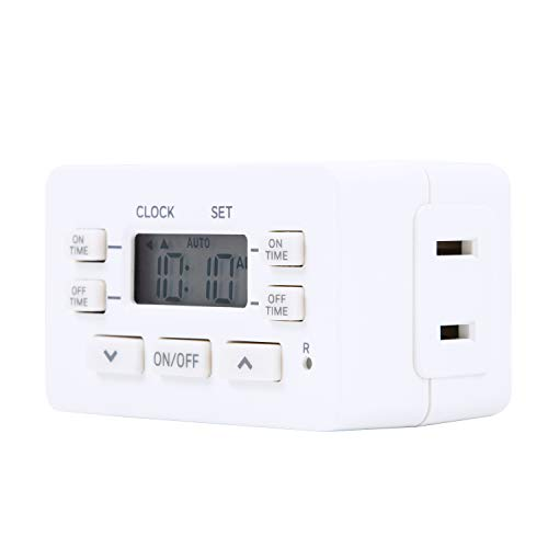 Honeywell Indoor Digital Plug-in Timer, 1 Polarized Outlet, 2 ON/Off Options, 24-Hour Cycle, Compact Design, Override Switch, Ideal for Lamps, Seasonal Lighting, Small Appliances, LED, 45184, White