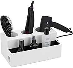 JackCubeDesign Hair Dryer Holder Hair Styling Product Care Tool Organizer Bath Supplies Accessories Tray Stand Storage Bathroom Vanity Countertop with 3 Holes (White) – :MK154D