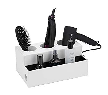 JACKCUBE Design Hair Dryer Holder Hair Styling Product Care Tool Organizer Bath Supplies Accessories Tray Stand Storage Bathroom Vanity Countertop with 3 Holes  White  –  MK154D